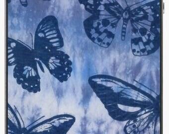 Navy Butterflies on Tie Dye Blue iPhone Skin // iPhone 4/4S/5/5C/5S/SE/6/6 Plus