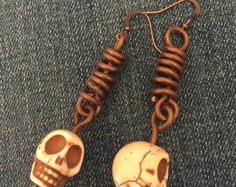 Copper Howlite Skulls