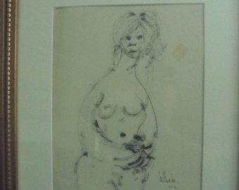 Original Signed Pen& Ink By GINO F. HOLLANDER 17 3/4 X 21 3/4
