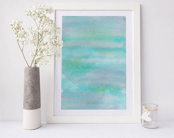 Printable abstract art, watercolour wall art, water print, green watercolor print, watercolor art, abstract art, abstract watercolor art