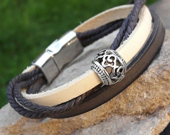 Bracelet double Leather Brown and cream