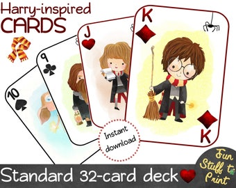 Playing cards for wizards and HARRY POTTER fans - Game, birthday party favor