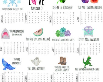 2018 Calendar// 2018 Desk Calendar, Mini Desk Calendar, Valentines Day Gift, Gift For Friend, Gifts under 20