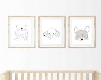 Set of 3 girls bedroom/nursery doodle prints