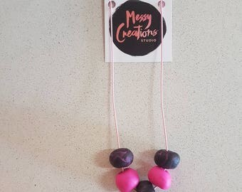 Pink and Black 5 Bead Polymer Clay necklace