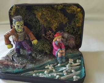Miniature Frankenstein Diorama in Tin