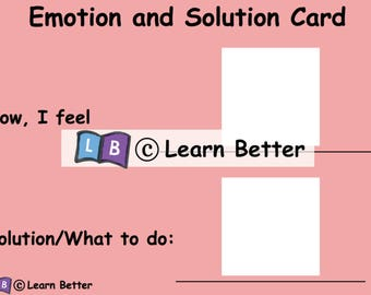 Emotion and Solution Cards for Girls/ Visual Aid/ Communication Aid/ Autism PECS/ pre-school learning