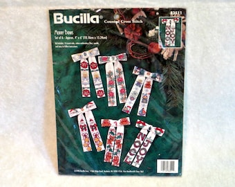 Bucilla Counted Cross Stitch Merry Bows | Set 6 Bows | Holiday Ornaments | Christmas Gift Tags | Bucilla Kit #83511