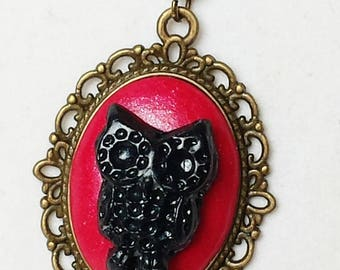 "Bronze chain and pendant way collection ""Halloween"" fimo cameo necklace"