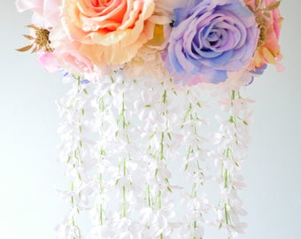 Floral mobile, Floral Chandelier, decoration,gold, baby mobile,bird, Nursery Mobile,Rose Baby,blue,white,pink, Gift, Wedding chandelier
