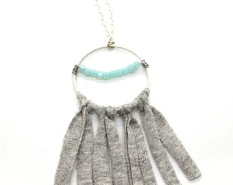 Gray and turquoise pendant necklace