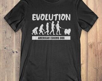American Eskimo Dog Custom Dog T-Shirt Gift: American Eskimo Dog Evolution