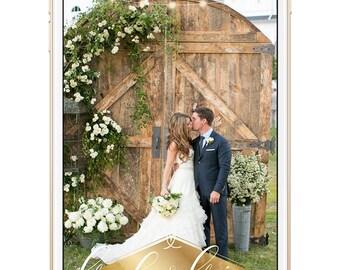 wedding snapchat filter, gold snapchat filter, rustic snapchat filter, rustic wedding, wedding geofilter, string lights, country wedding