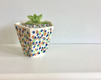 READY TO SHIP Handmade Geometric Planter - Colourful Porcelain Pottery Handmade Spotted