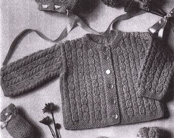 Baby Infant Hat Baby Set Vintage Sweater Hat Mittens Booties  Knitted Pattern  Size 6-9 Months *PDF Instant Download*