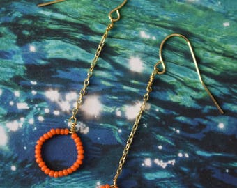 Orange Seed Bead Earrings