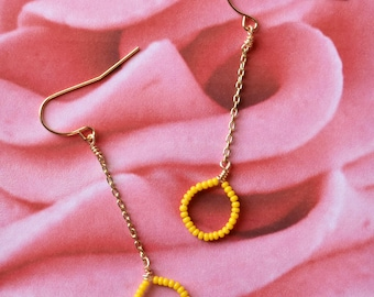 Yellow Seed Bead Earrings