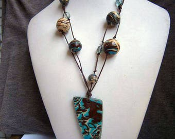 Polymer Clay Necklace, Large Pendant Necklace, Turquoise and Brown Necklace, Gift for Her, Handmade Necklace Long Necklace Statement Jewelry