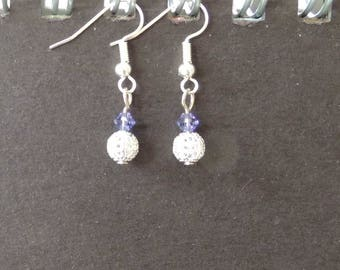 Swarovski silver plated Stud Earrings, tanzanite Crystal bicone beads