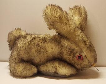 Vintage Bunny Plush DollCraft NY Stuffed Animal Toy Pink Eyes 70s