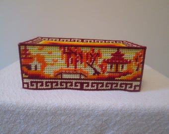 Fire Meadows Needlepoint Tissue Box Cover