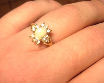 Gold Plated Vintage Costume Created Opal and CZ Ring Size 8.5-9