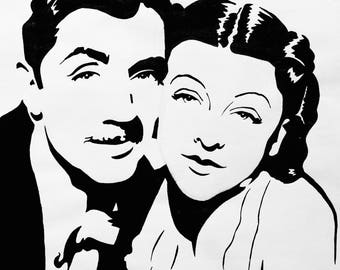 8x8 Myrna Loy and William Powell Art Print