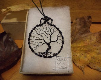 Tree of Life Black Twisted Wire pendent necklace sacred tree knowledge  energy celtic druid magic wisdom beauty protection summer fall