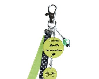 """Bag charm """"You're the sweetest godmothers"""" lime green"""