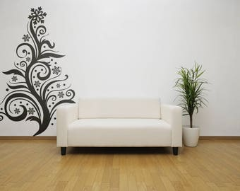 Floral Stylized Christmas Tree Wall Decal, Dont cut a tree use wall decal Trees, Xmas, December, Winter, Snow Flakes, Falling Snow