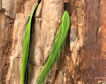 Neon Green Feather Earrings