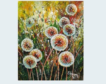 Acrylic painting canvas Dandelion flower art Dandelion painting on canvas Palette knife art Garden lover gift for mom nature Modern wall art