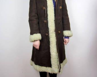 vintage 70s sheepskin shearling winter coat S M