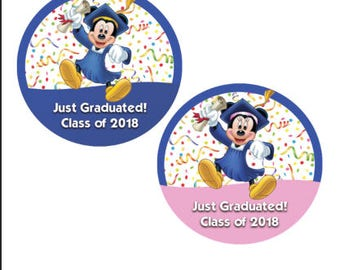 Minnie and Mickey Mouse Just Graduated Celebration Button - Graduation Pin - Disney Inspired Graduation Button - Theme Park Button