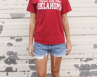 """Vintage """"There's Only One Oklahoma"""" Tee Shirt   Vintage OU T-Shirt   Vintage Oklahoma Football Tee Shirt   Soft Vintage Tee Shirt"""