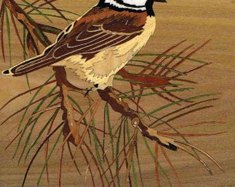 """marquetry art """"crested tit"""""""