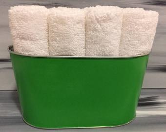Green Bathroom Bin - Bathroom Wash Cloth Bin with 12 white wash cloths.