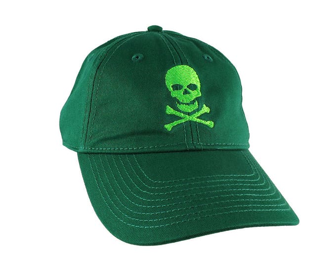 Irish Green Crossbones Pirate Skull Embroidery on an Adjustable Kelly Green Unstructured Baseball Cap with Option to Personalize the Back