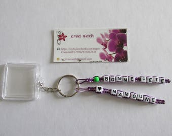"Personalized Keychain 2 strands with ""happy mother's day"" picture holder"