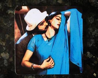 Bollywood Retro Art Mr India MDF/Cork Coaster - Anil Kapoor & Sridevi