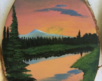 Painted Wood Ornament - Sunset on the Lake