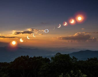 Eclipse Phases Over Brasstown Bald, 2017 Eclipse Print, Fine Art Photography, Georgia Landscape Photography, Just in Time for the Holidays