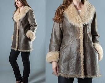 Brown Real Sheepskin Fur Women Coat Shearling Coat Brown