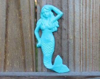 Mermaid hook; cast iron mermaid; mermaid towel hook; beach house decor; nautical decor; beach wall art; beach wall hanging