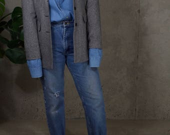 vintage wool blend blazer / herringbone blazer / vintage minimal blazer / us 8 / s / m