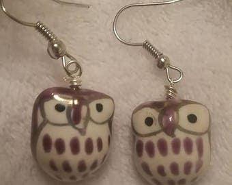 Purple Owl Drop Earrings