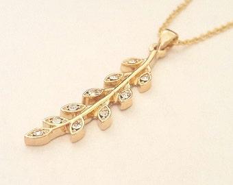 Twig Necklace Twig Jewelry Gold Twig pendant necklace Gold twig necklace Forest Jewelry Minimalist Jewelry