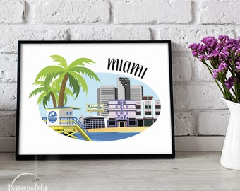 Miami Skyline - Wall Art - Digital Download