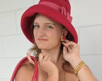 Vintage Bollman Hat - Geo. W. Bollman & Co. Red Felt Doeskin Wool Hat