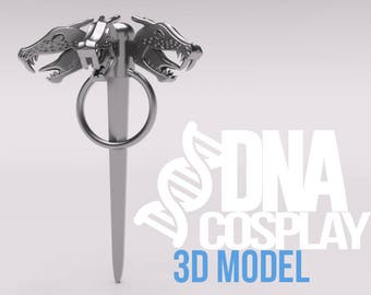 Daenerys Targaryen Three-headed Dragon Pin - 3D Model (Game of Thrones) Cosplay